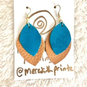 NEW Two Toned Leather & Suede Boho Earrings